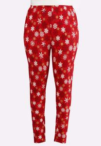 Plus Size Snowflake Leggings