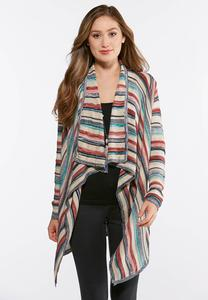 Plus Size Stripe Waterfall Cardigan Sweater