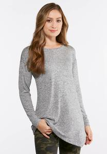 Plus Size Embellished Hacci Knit Top