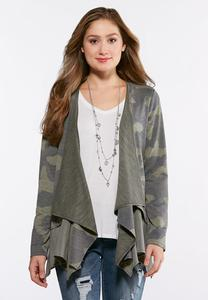 French Terry Camo Cardigan