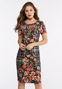 Plus Size Floral Plaid Hacci Midi Dress