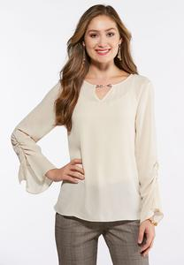 Plus Size Embellished Ruched Sleeve Top