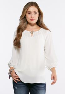 Plus Size Ring Embellished Pullover Top