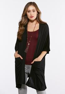 Plus Size Solid Draped Cardigan Top