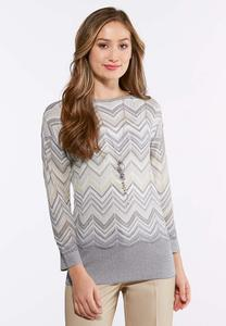 Plus Size Lurex Chevron Sweater