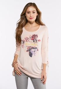 Plus Size Lattice Sleeve Floral NY Top