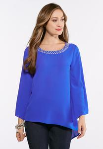 Plus Size Pearl Embellished Asymmetrical Hem Top