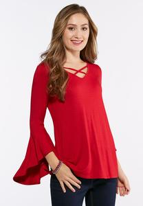 Plus Size Criss Cross Bell Sleeve Top