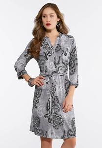 Plus Size Tie Waist Paisley Dress
