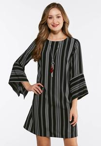Plus Size Striped Exaggerated Sleeve Dress