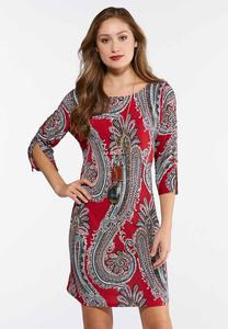 Lace Up Sleeve Paisley Dress