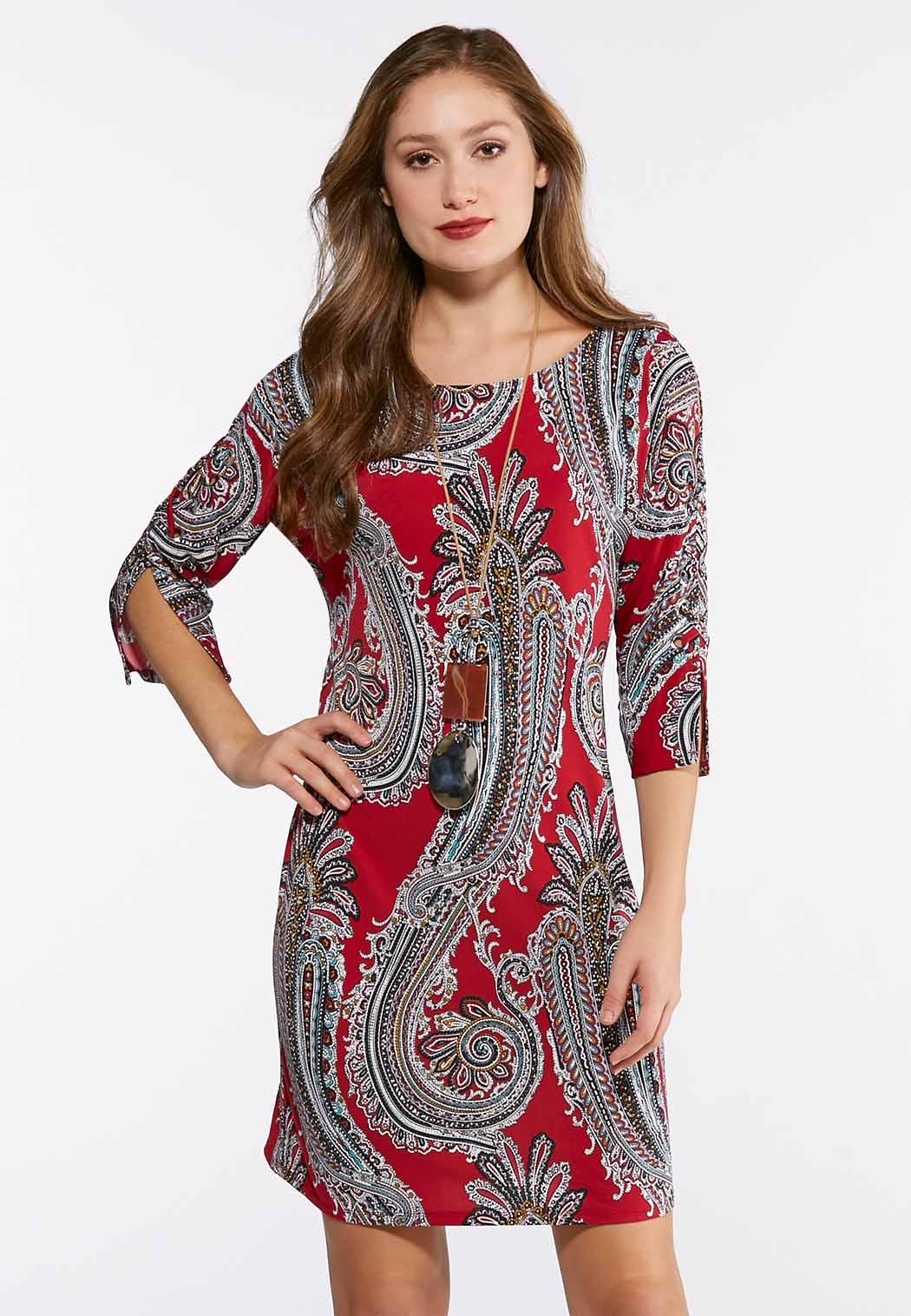 Plus Size Lace Up Sleeve Paisley Dress A Line Swing Cato Fashions
