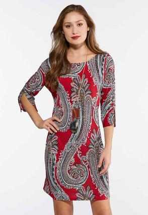Plus Size Lace Up Sleeve Paisley Dress