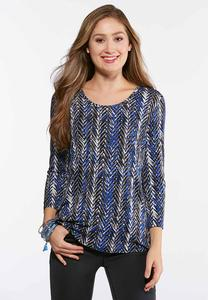 Plus Size Blue Chevron Top