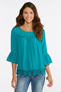 Blue Grass Crochet Trim Poet Top