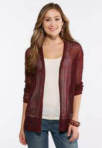 Wine Lace Up Back Cardigan
