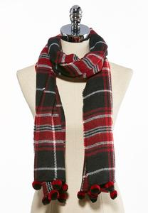 Pom Trim Plaid Oblong Scarf