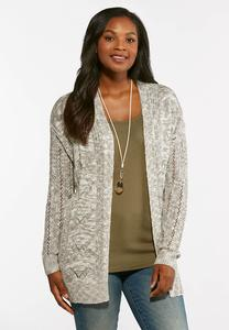 Pointelle Slub Knit Cardigan