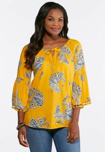 Golden Paisley Off The Shoulder Top