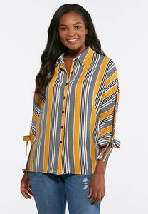 Plus Size Golden Stripe Tie Sleeve Top