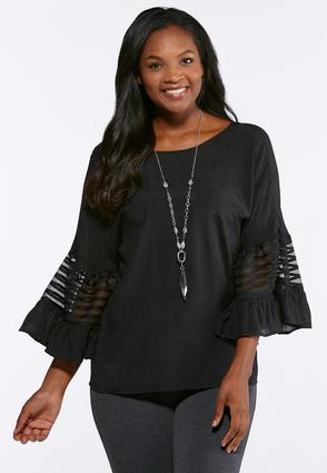 Mesh Inset Bell Sleeve Top