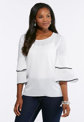 Contrast Ruffled Trim Top