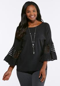 Plus Size Mesh Inset Bell Sleeve Top