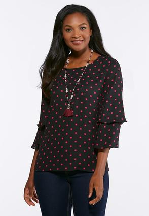 Plus Size Tiered Sleeve Dot Top