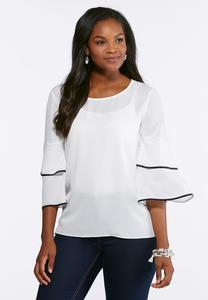 Plus Size Contrast Ruffled Trim Top
