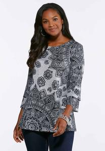 Plus Size Embellished Gray Medallion Top