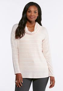 Blush Stripe Cowl Neck Top