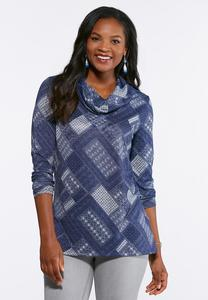 Navy Patchwork Cowl Neck Top