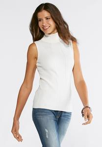 Plus Size Rib Sleeveless Turtleneck