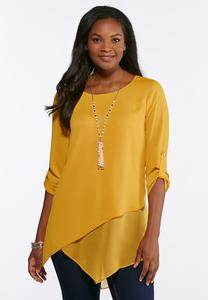 Plus Size Layered Asymmetrical Tunic
