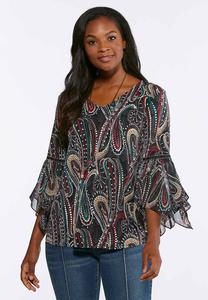 Plus Size Dotted Swirl Flounced Sleeve Top