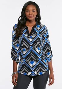 Geometric Print V-Neck Top