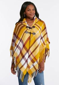 Plaid Fringe Toggle Poncho