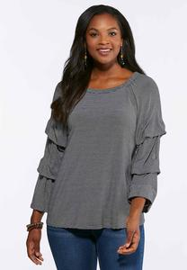 Plus Size Striped Bubble Sleeve Top