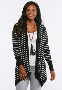 Plus Size Striped Ruched Back Cardigan