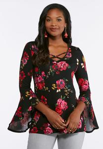 Plus Size Rose Print Bell Sleeve Top