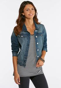 Plus Size Zig Zag Stitch Denim Jacket
