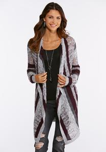 Vertical Stripe Cardigan Sweater