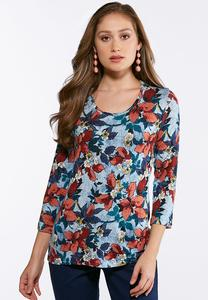 Plus Size Blues And Blooms Top