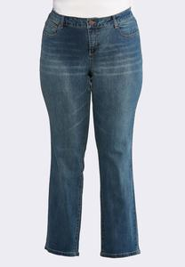 Plus Size Whiskered Jeans