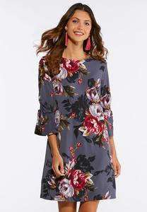 Plus Size Bell Sleeve Floral Swing Dress