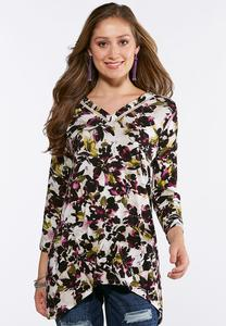 Plus Size Floral Sharkbite Hem Top