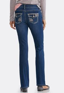 Petite Colorful Stitch Bootcut Jeans