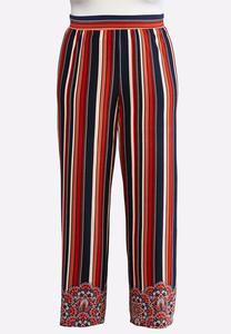 Plus Size Border Stripe Palazzo Pants