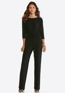 Plus Petite Button Slit Sleeve Jumpsuit