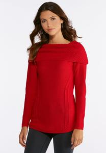 Red Off The Shoulder Tunic Sweater